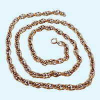 Vintage 12K Gold Filled Rope Chain Necklace