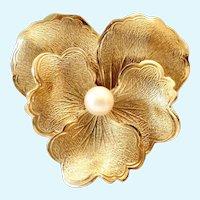 14K Gold Filled Flower Brooch Cultured Pearl Signed