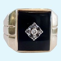 10K Gold Art Deco Onyx & Diamond Ring 6.9 Grams Signed