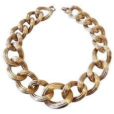 Large Gauge Graduated Ribbed Link Choker Necklace