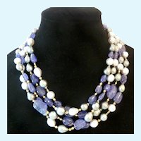 Spectacular 14K Gold South Sea Baroque Pearl & Iolite 4-Strand Necklace