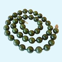 Nephrite Jade Bead Necklace Sterling Silver 925 Clasp Hand Knotted