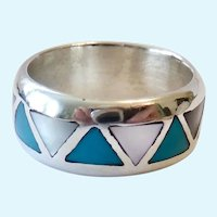 Sterling Silver 925 Turquoise & MOP Band Ring Signed SC Silver Cloud