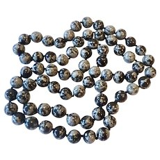Snowflake Obsidian 12MM Bead Necklace Hand Knotted and Endless 35 Inches