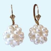 14K Gold Cultured Pearl Cluster Dangle Earrings Lever Back
