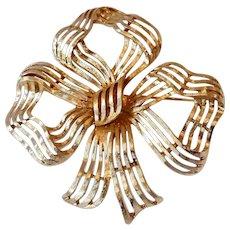 Huge Gold Tone Bow Brooch Signed Monet