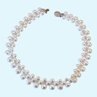 Cultured Pearl Choker Necklace 3 Graduated Rows 14K Gold Filled Filigree Clasp