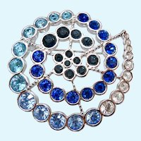 Swarovski Shades Of Blue Crystal Spiral Brooch Swan Signed