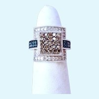 Sterling Silver 925 Yellow, Blue & White Diamond Paved Ring