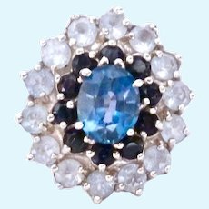 Sterling Silver 925 Shades of Blue Topaz Ring Large Presentation
