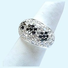 Sterling Silver 925 Wide Band Domed Ring Clear & Blue CZs