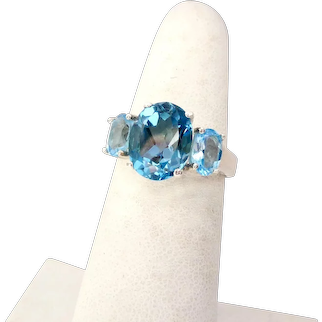 Sterling Silver 925 Blue Topaz 3-Stone Ring