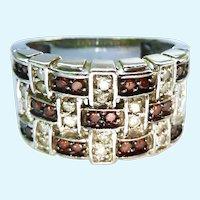 Stunning 14K Gold Red & White Diamond Ring Basketweave Design