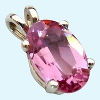 14K White Gold Pink Gemstone Pendant