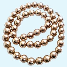 Vintage 12K Gold Filled Bead Necklace 8MM Beads on Chain