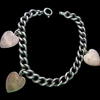 1950's Sterling Silver 925 Mother's Heart Charm Bracelet