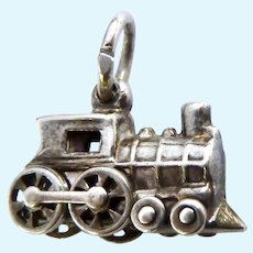 Sterling Silver 925 Steam Locomotive Charm Wheels Turn