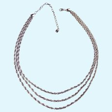 999 Silver Three Strand Graduated Rope Chain Necklace
