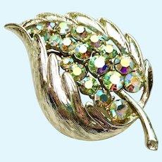 Vintage Coro Leaf Brooch with AB Crystals