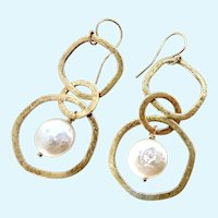 14K Gold Filled Open Circle Dangle Earrings with Coin Pearls