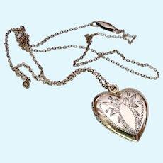 12K Gold Filled on Sterling Silver Heart Locket Necklace Signed ALLCO