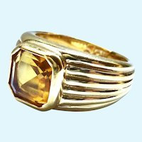 Joan Rivers Ring Gold Tone Yellow Stone Ribbed Band