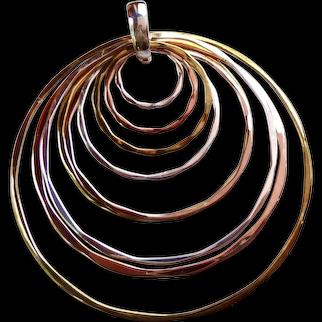 Robert Lee Morris (RLM) Studio Nested Circles Pendant Sterling Silver 925, Brass & Copper