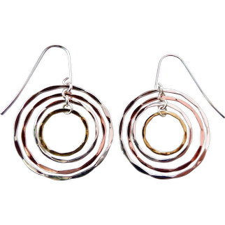 RLM Robert Lee Morris Studio Concentric Circles Dangle Earrings Sterling Silver 925, Brass & Copper