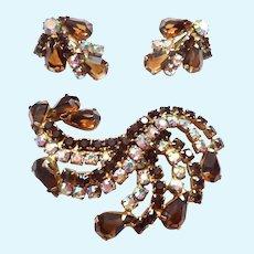 Vintage Rhinestone Brooch & Clip Earrings Set Fall Colors
