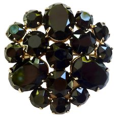 Faceted French Jet Mourning Brooch