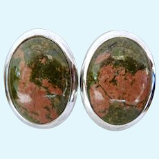 Large Sterling Silver 925 Unakite Oval Clip Earrings Jay King DTR