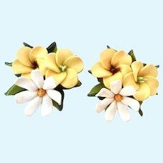 Triple Flower Blossom Clip Earrings Molded Plastic Lightweight