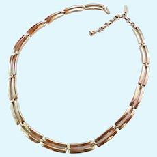 Monet Gold Tone Open Rectangular Link Necklace