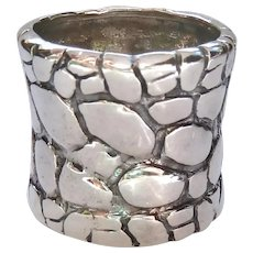 Wide Sterling Silver 925 Band Ring Pebbled Surface