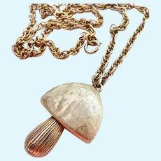 Vintage Napier Articulated Mushroom Necklace Gold Tone