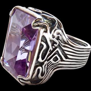 "Huge Silpada Sterling Silver 925 ""Lavender Fields"" Ring Glass Stone"