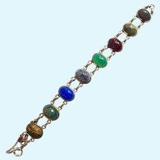 12K Gold Filled Carved Gemstone Scarab Bracelet Signed D'Abros
