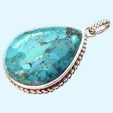 Sterling Silver 925 & Turquoise Pendant Signed Barse