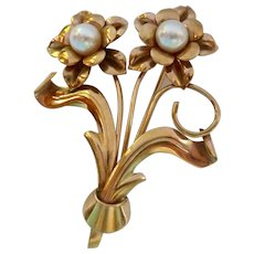 Vintage 10K Gold and Pearl Floral Brooch Pin Signed JMS 6.4 Grams