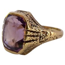 Octagonal Amethyst Ring 10K Gold Size 6 Nouveau Deco Transitional Possibly Ostby Barton