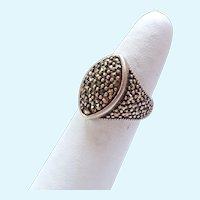 Sterling Silver 925 Marcasite Paved Ring Low Profile