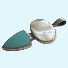Sterling Silver Mother of Pearl MOP Turquoise Inlaid Pendant