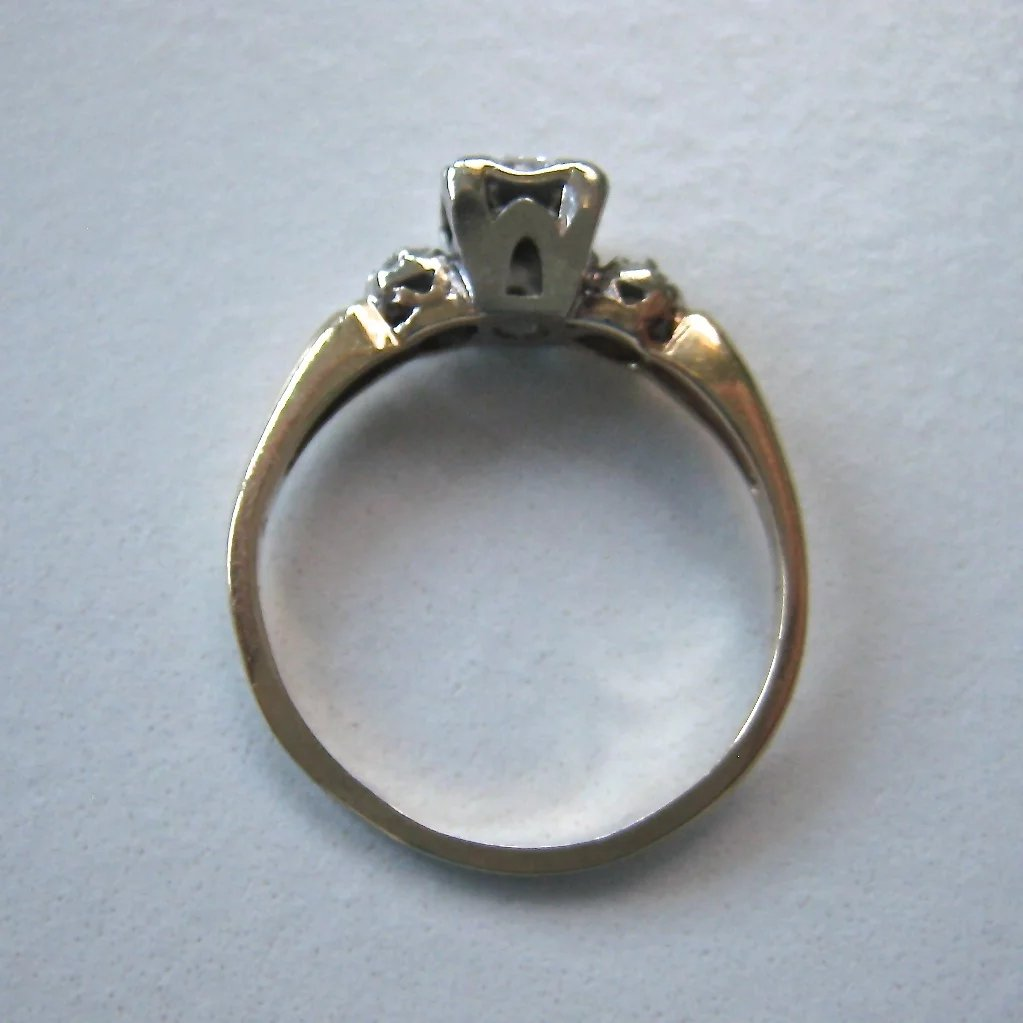 Vintage 14k Gold Diamond Engagement Promise Ring Illusion