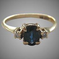 14K Gold Sapphire Diamond Ring Signed EW Adams & Son Sweet Size 6