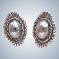 Sterling Silver 925 Concho Earrings Screw Back
