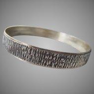 Sterling Silver 925 Bangle Bracelet Crenelated Design