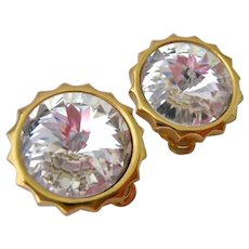 Swarovski Clear Rivoli Crystal Headlight Style Clip Earrings Swan Signed