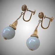 14K Gold Celadon Jade Drop Earrings Screwbacks