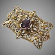 Victorian Gold Tone Filigree Amethyst Paste Large Brooch Pin