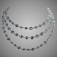 Triple Graduated Strand Clear Faceted Crystal Necklace Choker